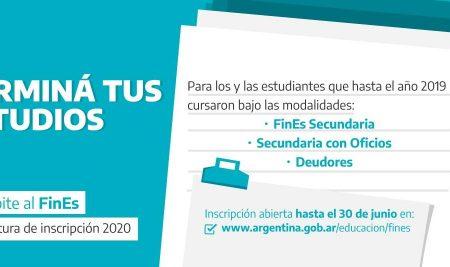 Inscripción para el año 2020 de estudiantes de FinEs